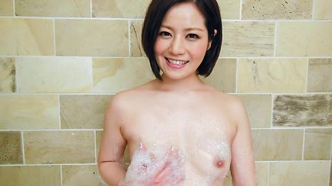 Minami Asano showing curvy body in bathroom before sex hard JAV Uncen