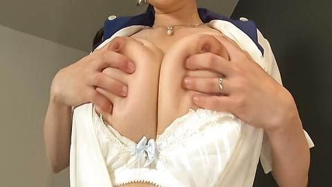 Japanese maid big boobs enjoy solo before wild fucking