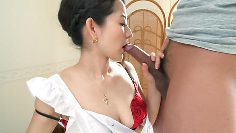 Dirty Asian Yui Kasuga oral sex orgy with two guys