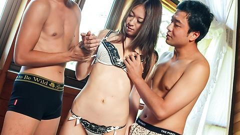 Risa Misaki enjoy fucking three ways for hard sex Uncensored