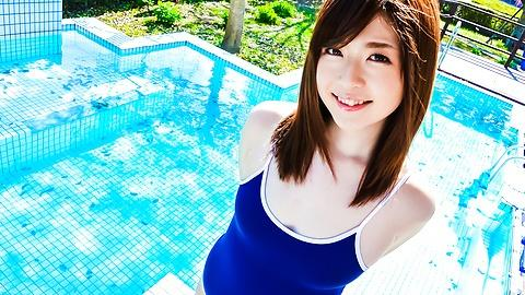 Kaho Teen jav hd showing young body outdoor pool Uncensored
