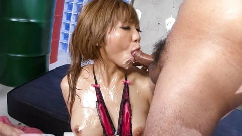Hot Hazuki Rui tiny japanese girl blowjobs deepthroat a hard dick for bukkake