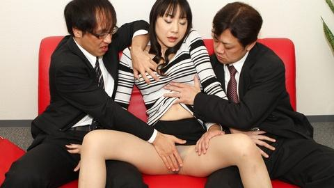 Miho Wakabayashi horny mature officer gets rounded her cunt by coworkers