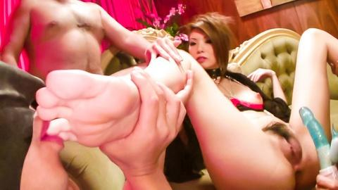 Pumped pussy of Ria Sakurai meets a big sex toy set