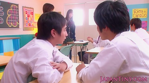 Japanese schoolgirl jerking off my cock