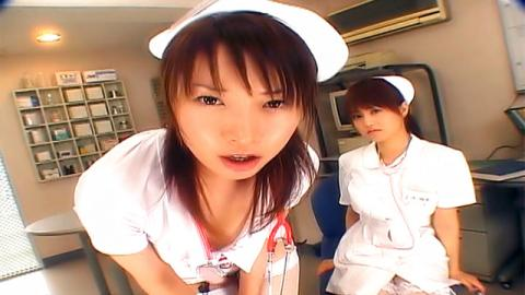 Japanese AV Models in nurse uniforms in wild foursome - AllJapanesePass